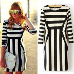 White O-Neck Long Sleeve Dress Slim Striped Bodycon - US $22.10 Free Shipping Worldwide