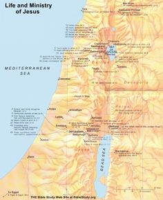 Large Map showing events in the Life and Ministry of Jesus Bible Quotes, Bible Verses, Scriptures, Jesus Lives, Jesus Christ, Jesus Movie, Bible Mapping, Bible News, Learn Hebrew