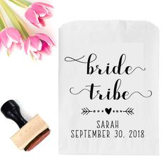 Bride Tribe Bag Stamp - Bachelorette Party Favor Bag Stamp - Bachelorette Party Treat Bag - Wedding Favor Treat Bag - Emergency Kit Stamp by SouthernPaperAndInk on Etsy