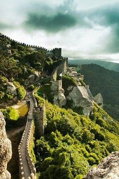 At the Castle of Moors, Sintra, Lisbon, Portugal.