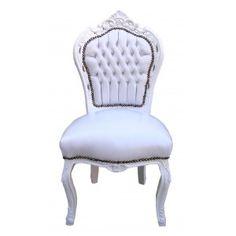 Cette chaise possède un très beau revetement en simili cuir blanc d'un confort impeccable, clouté et la peinture est laquée blanc brillante.  L'assise est très confortable et moelleuse, réalisé à l'ancienne (conception sangles et lanières recouvertes par du tissus blanc).  Le bois (du hêtre) est finement sculpté aux divers motifs reprenant le style.