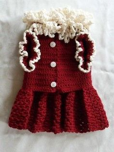 CHRISTMAS CROCHETED DOG CLOTHES APPAREL SWEATER DRESS WINE OFF WHITE SMALL!!