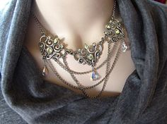 $60  Beautiful draping chains necklace with Swarovski crystals. Romantic and elegant!  www.rachelsjewelrydesigns.com