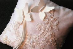 Ring Bearer Pillow  Butterfly Ivory Pillow with by YANDEBRIDAL, $45.00