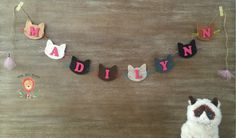Personalized Cat Name Banner, Kitty Cat Birthday Party, Cat Party, Cat Baby Shower, Cat Room Nursery Decor, Kitten Party, Kitten Baby Shower by LittleLionLoveliesCo on Etsy https://www.etsy.com/listing/269231286/personalized-cat-name-banner-kitty-cat