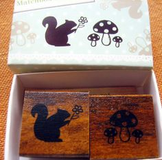 japanese rubber stamp set-2 stamps in a matchbox, squirrel and mushrooms. $8.00, via Etsy.