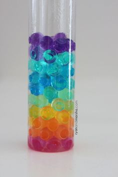 "A rainbow sensory bottle that is beautiful to look at and fun to enjoy. This bottle was inspired by the separation that occurs when you mix water and oil. I found myself wondering, ""well, wha…"