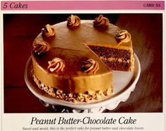 Peanut Butter Chocolate Cake with Peanut Butter Frosting (Great American Home Baking Card, Desserts, Cakes Peanut Butter Frosting, Chocolate Peanut Butter, Chocolate Cake, Fresh Apple Cake, Fresh Apples, Pineapple Muffins, Home Baking, Vintage Recipes, Homemade Cakes