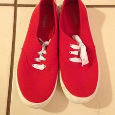 New old navy red casual shoes size 8 New old navy red sneaker/shoes, lace-tie up never worn and in great condition. Shoes Sneakers
