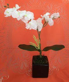 Arranjo Floral Artificial Mini Orquídea Branca - 20609385 | enjoei :p