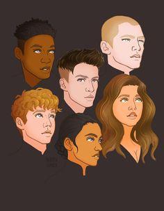 Jesper, Kaz, Matthias, Wylan, Inej and Nina from Six of Crows.