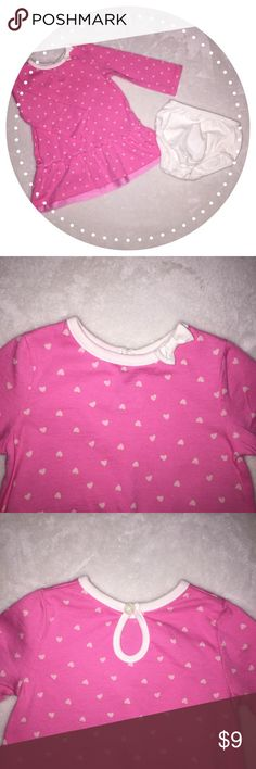 Dress with matching bloomers🎀 Dress with matching bloomers 🎀 size:6-9m brand:Cherokee. pink with small light pink hearts and small bow on collar line. Excellent used condition. Worn only once, like new! Bundle and save✨ Cherokee Dresses Casual