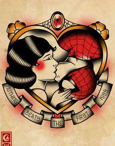 Derick James misturou super-heróis e desenhos de tatuagem old school.