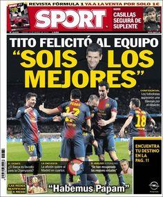 Los Titulares y Portadas de Noticias Destacadas Españolas del 14 de Marzo de 2013 del Diario Deportivo Sport ¿Que le pareció esta Portada de este Diario Español?