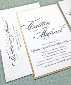 Caitlin Script Metallic Gold Layered Wedding Invitation by Cricket Printing