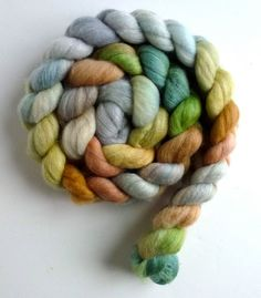 Polwarth Silk, unspun wool roving, spinning fiber, wool roving, combed top, Three Waters Farm, Grey Reflections