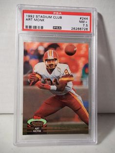 1992 Stadium Club Art Monk PSA NM 7.5+ Football Card #244 NFL Collectible #WashingtonRedskins