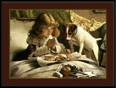 English-Print-Picture-Jack-Russell-Terrier-Dog-Cat-Little-Girl-Pray-Art-Poster