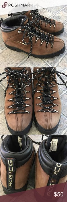 NIke ACG Hiking Boots Hiking on your vacation this year? Don't pay full price for boots! Nike ACG hiking boots in excellent condition. Textured soles. Brown with black accents. Lace up front. Surprisingly lightweight. Silvertone hardware. (11) Nike Shoes