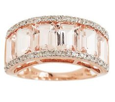 Channel Set Morganite & Diamond Ring. Beautiful.