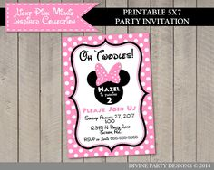 Light Pink Minnie Mouse Birthday Party Ideas: Printable 5x7 Birthday Party Invitation. Lots of coordinating items available! Use promo code PINTEREST10 to save 10% off purchase.