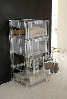 Acrylic stacking drawers for trainers sweaters and clothes storage. For easy and practical storage solutions look no further than these stackable plastic drawers; Plastic Drawers, Clothing Storage, Closet Space, Extra Storage, Storage Drawers, Storage Solutions, Clear Acrylic, Shelves, Sweater