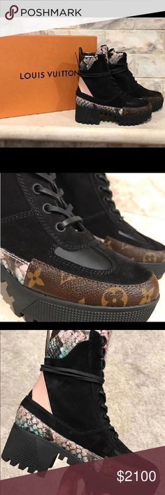 Authentic Pokerface Louis Vuitton Combat Boots 36 Outrageous style and comfort! Size 36. Minimal wear- still looks new. Python, leather and LV Monogram. What a jazzy addition to any outfit! Louis Vuitton Shoes