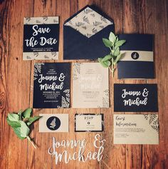 Joanne and Michael wedding invitation package  #wedding #invitation #savethedate #rsvp #craft #design #weddingdesign #graphicdesign #handlettering #typography #mint #blackandsilver #greensboro #marriage