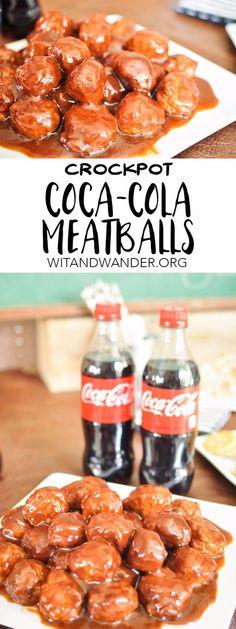 Crockpot Coca-Cola Meatballs - Coca Cola - Ideas of Coca Cola - Ideas of Coca Cola - Crockpot Coca-Cola Meatballs - Appetizers Coca Cola, Gourmet Recipes, Crockpot Recipes, Cooking Recipes, Crockpot Dishes, Gf Recipes, Beef Dishes, Family Recipes, Drink Recipes