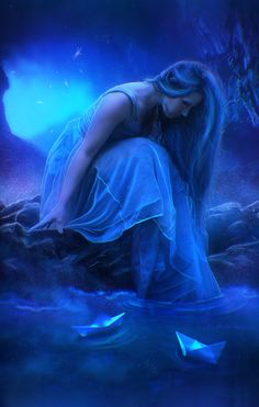 . Fantasy Images, Fantasy Art, Fond Rose Pale, Rhapsody In Blue, Seaside Art, Bleu Violet, Everything Is Blue, Moody Blues, Soothing Colors