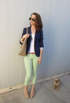 Colored pants, white top, navy blazer