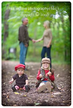 I love this idea for our next family pics.  The boys in the front clear, us in the back out of focus.  Cute!