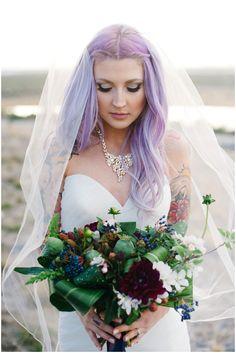 Alternative bride. Strapless bridal gown. Wedding dress.