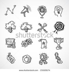 SEO internet marketing sketch icons set with choice optimisation social network cloud isolated vector illustration