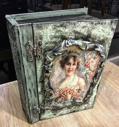 Altered Boxes, Altered Art, Book Crafts, Diy And Crafts, Shadow Box Art, Wooden Books, Decoupage Box, Shabby Chic Crafts, Paper Embroidery