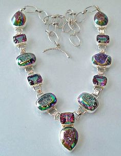 Druzy agate, mystic topaz, and sterling silver necklace