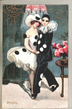 Art sign. S.CHIOSTRI pierott dancing lady couple danc art deco postcard | eBay