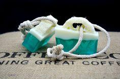 Handmade soap with a loofah