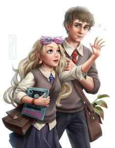 Image of harry potter and luna lovegood Harry Potter Fan Art, Harry Potter Anime, Harry Potter Universe, Fans D'harry Potter, Mundo Harry Potter, Harry Potter Drawings, Harry Potter Ships, James Potter, Harry Potter Characters