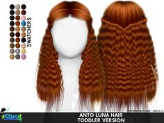 Child's Anto Luna Hair by Redhead Sims Sims 4 Toddler Clothes, Sims 4 Mods Clothes, Sims 4 Cc Kids Clothing, Toddler Cc Sims 4, Toddler Outfits, Toddler Girls, Girl Outfits, Sims 4 Cc Eyes, Sims 4 Cc Skin