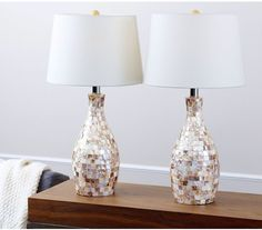 Add a touch of elegance to your space with this Abbyson Living Favorite. This set of two table lamps each feature Mother of Pearl tiles along the resin base, coupled with a beige cotton shade. White Table Lamp, Table Lamp Sets, Pastel Walls, Live Set, Lamp Shade Store, Beautiful Living Rooms, Home Decor Shops, Contemporary Decor, Home Lighting