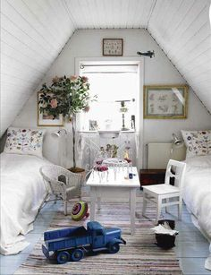 vintage cottage attic bedroom..