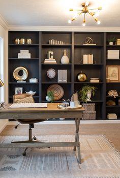 Trendy Ideas For Home Office Shelves Ikea Bookshelves Home Office Shelves, Ikea Office, Home Office Space, Home Office Design, Home Office Decor, Home Interior Design, Office Ideas, Office Setup, Navy Office
