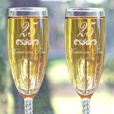Champagne Flutes feature 12 knotted twist stems Measure 8 and holds ounces. Champagne Flutes are made in the USA Engraved Champagne Flutes, Wedding Champagne Flutes, Toasting Flutes, Champagne Glasses, 15 Year Wedding Anniversary, Anniversary Ideas, Flute Glasses, Personalized Picture Frames, Personalized Anniversary Gifts