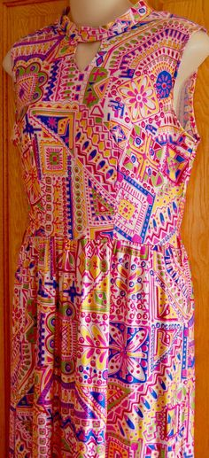 VINTAGE 60s Womens MAXI DRESS XS Geometric PSYCHEDELIC Keyhole Disco Hippie Boho #Unbranded #Maxi #Party