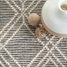 Gracie Oaks Peniste Hand-Tufted Wool/Cotton Ivory Area Rug Rug Size: Rectangle x Navy Blue Area Rug, White Area Rug, Grey Rugs, Beige Area Rugs, Beige Color Palette, Grey And White Rug, Trellis Rug, Rugs Usa, Ballard Designs