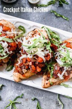 Make this simple one-pan meal for dinner tonight. Crockpot Italian chicken is made with a red sauce created from diced tomatoes and balsamic and topped with mozzarella. Slow Cooker Balsamic Chicken, Red Sauce, Italian Chicken, One Pan Meals, Healthy Chicken, Dinner Tonight, Bruschetta, Salmon Burgers, Mozzarella