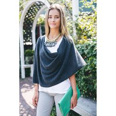 Alashan Charcoal Cashmere Dress Topper Poncho