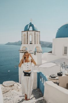 Santorini, Greece @ohhcouture Outfit - Bally bag, Staud top, Mango pants, Marni sunglasses by ohhcouture, Leonie Hanne