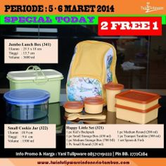 Promo Harian 2 Free 1 Tulipware 5 - 6 Maret 2014 : Jumbo Lunch Box | Small Cookie Jar |  New Happy Little